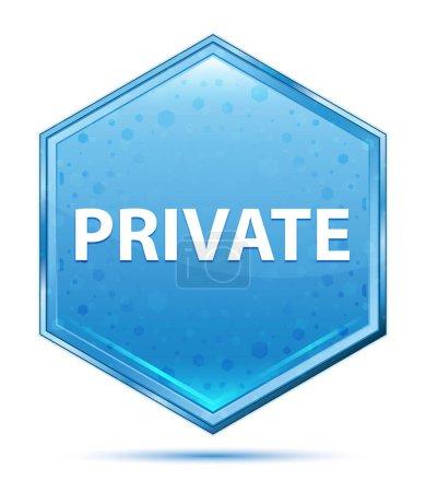 Botón hexágono azul cristal privado