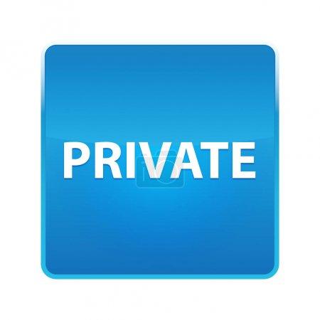 Botón cuadrado azul brillante privado