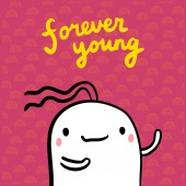 Forever young hand drawn illustration with cute marshmallow cartoon minimalism