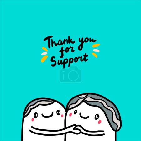 Illustration for Thank you for support hand drawn vector illustration with two old man together lettering grey hair card - Royalty Free Image