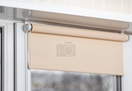 Photo for Beige shutter on window in room - Royalty Free Image