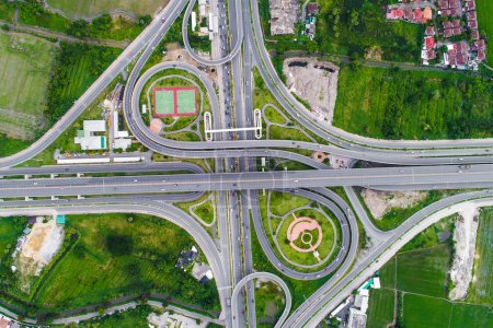 Aerial view transport junction road with satadium ...
