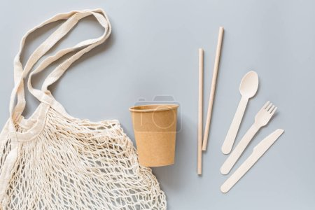 Eco natural paper coffee cups, straws, toothbrushe...