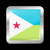 Flag of Djibouti Glossy and Metal Icon Square Shape Vector