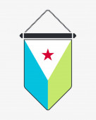 Flag of Djibouti Vector Sign and Icon Vertical Pennant Vector