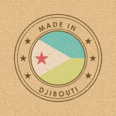 Flag of Djibouti Round Label with Country Name for Unique Natio