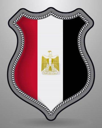 Bandera de Egipto. Vector Badge e Icon. Orientación vertical Versi