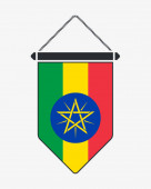 Flag of Ethiopia Vector Sign and Icon Vertical Pennant Vector