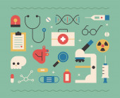 Objects related to medical care flat design style minimal vector illustration