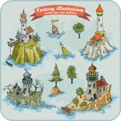 Fantasy illustration of Lighthouses for map building in hand draw vector format