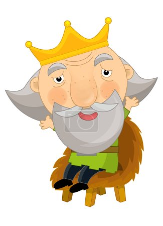 funny king sitting on the chair - isolated - illustration for children