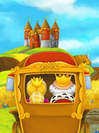 rear view of queen and king sitting in carriage with castle on background