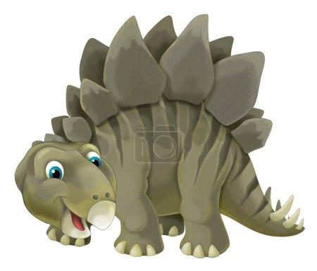 Photo pour Scène de la bande dessinée avec illustration stegosaurus - sur fond blanc - dinosaure heureux et drôle pour les enfants - image libre de droit