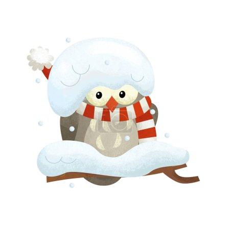 Photo pour Scène de dessin animé avec hibou oiseau Père Noël claus sur fond blanc illustration pour les enfants - image libre de droit