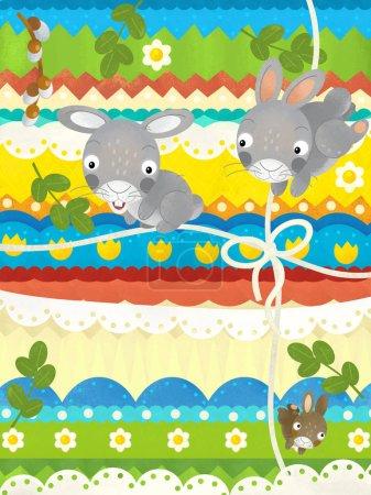Photo pour Scène de dessin animé avec la scène de pâques avec des lapins - carte heureuse de pâques - illustration pour des enfants - image libre de droit