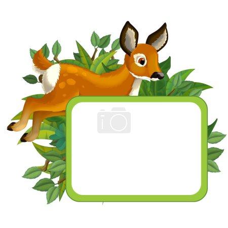Photo pour Scène de dessin animé avec cadre naturel et œufs d'animaux - illustration pour enfants - image libre de droit