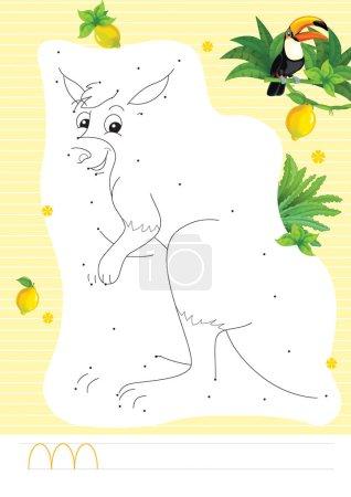 Photo pour Scène de dessin animé avec des enfants exercice coloriage avec des points de connexion avec girafe illustration pour les enfants - image libre de droit