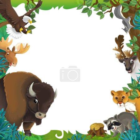 Photo pour Scène de dessin animé avec cadre naturel et animaux renne aigle orignal chat raton laveur illustration pour les enfants - image libre de droit