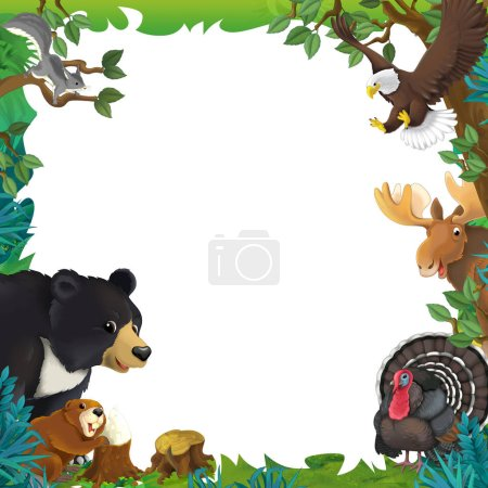 cartoon scene with nature frame and animals bear moose turkey beaver eagle squirrel - illustration for children