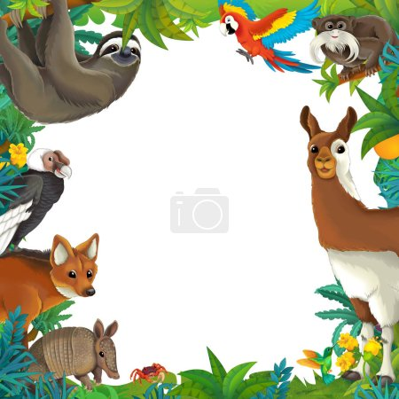 Cartoon scene with nature frame and animals - illu...