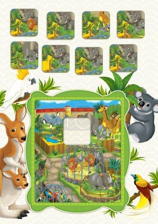 Photo pour Scène de dessin animé avec cadre naturel et animaux - illustration pour enfants - image libre de droit