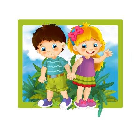 Photo pour Scène de dessin animé avec cadre nature enfants et animaux - illustration pour enfants - image libre de droit