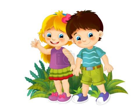 Photo pour Scène de dessin animé avec des éléments de la nature et des enfants - illustration pour les enfants - image libre de droit