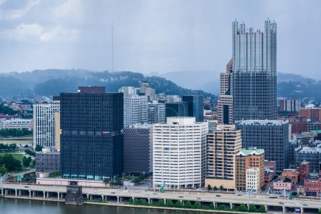 Stormy view of the Pittsburgh skyline and Monongahela River, from Mount Washington, in Pittsburgh, Pennsylvania