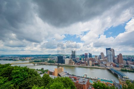 View of the Pittsburgh skyline and Monongahela River, in Pittsburgh, Pennsylvania