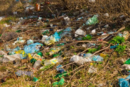 Photo for Garbage, Waste, Plastic Waste, Garbage Plastic Bottle Background texture, Garbage waste plastic pollution - Royalty Free Image