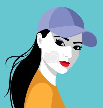 Illustration pour Belle jeune femme aux longs cheveux noirs portant une casquette de baseball, illustration vectorielle simple - image libre de droit