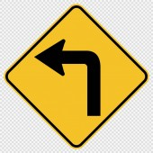 Turn Left Traffic Road Sign on transparent backgroundvector illustration