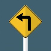 Turn Left Traffic Road Sign isolated on grey sky backgroundvector illustration