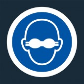 Symbol Wear Opaque Eye Protection Sign on black backgroundVector illustration