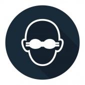 Symbol Wear Opaque Eye Protection Sign on black backgroundVector llustration