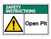 Safety instructions Open Pit Symbol Sign Isolate On White BackgroundVector Illustration