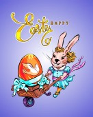 Vector Easter card with a fashionable rabbit