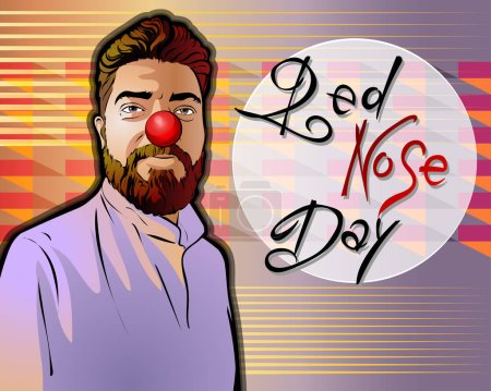 Illustration for Vector illustration dedicated to the Red Nose Day. A smiling middle-aged man in a coat has a red nose on his face.Beautiful handwritten font. Could be a postcard,a banner. - Royalty Free Image