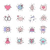 Set of 16 simple flat universal icons Nature love wedding music social media icons Vector illustration
