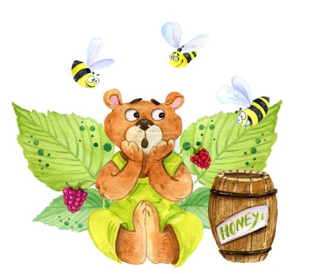 Photo pour Aquarelle ensemble d'illustration, y compris un ours en peluche effrayé mignon en dungarees vertes, trois abeilles drôles, un tonneau de miel et de framboises baies et feuilles - image libre de droit