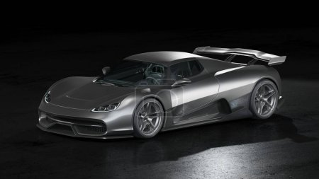 Photo for 3D rendering of a brand-less generic concept car - Royalty Free Image