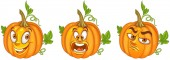Pumpkin Halloween holiday symbol Vegetable concept Emoji Emoticon collection Cartoon characters for kids coloring book colouring pages t-shirt print icon logo label patch sticker