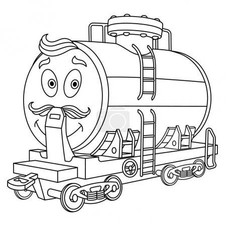 Illustration for Coloring page. Colouring picture. Cute cartoon fuel tank. Rail wagon for chemical industry delivery. Childish design for kids coloring book. - Royalty Free Image