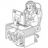 coloring page with video cyber e-sport gamer