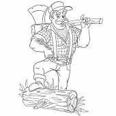 coloring page with lumberjack holding axe