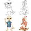 Coloring pages. Cartoon characters. Clipart set fo...