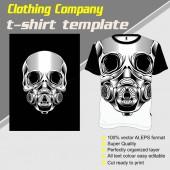 skull t shirt template hand drawing vector