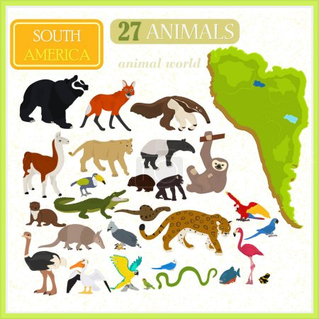 Illustration for Set of animals of South America with map - Royalty Free Image