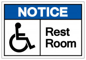 Notice Rest Room Symbol Sign Vector Illustration Isolated On White Background Label EPS10