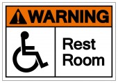 Warning Rest Room Symbol Sign Vector Illustration Isolated On White Background Label EPS10